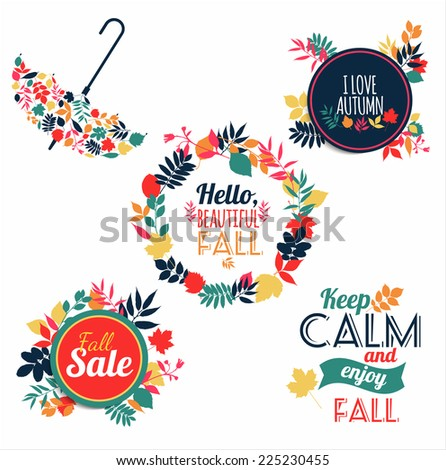 Fall set. Medal and leaves composition. - stock vector