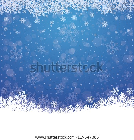 fall snowflake snow stars blue white background - stock vector