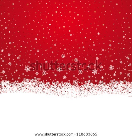 fall snowflake snow stars red white background - stock vector