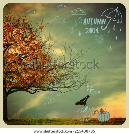 Fall Tree Poster - Instagram style autumn poster, with autumn tree and doodles, including clouds, raindrops, umbrella and pumpkins, mixed media illustration - stock vector