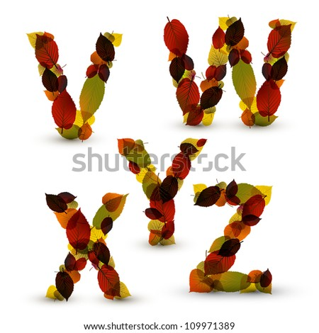 Fall Vector alphabet letters / font made from colorful leafs - stock vector