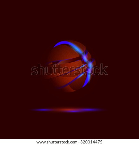 Falling apart neon basketball ball background