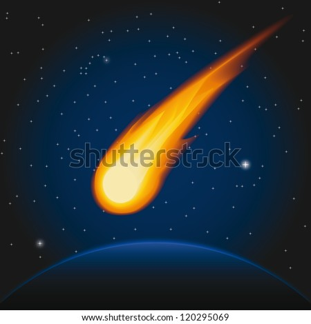 Falling asteroid. Vector illustration - stock vector