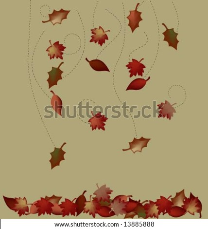 Falling autumn leaves - stock vector