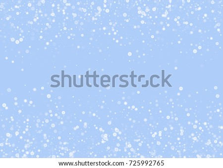 Falling christmas snow on blue. Vector New Year snowflake abstract background. White gllitter confetti. Snowflakes decoration effect. Winter holiday print. Snowfall texture for poster, banner, card.