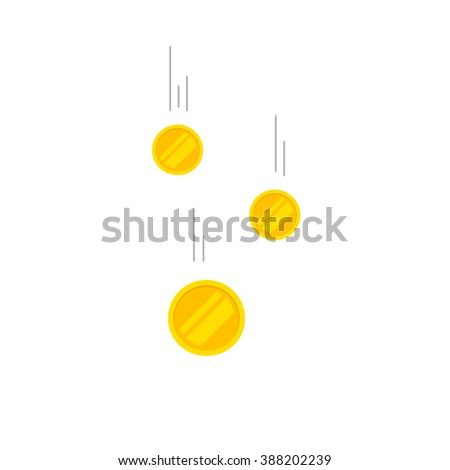 Falling coins money vector illustration, flying gold coins with gray track, coins dropping abstract golden rain concept modern flat cartoon design isolated on white background - stock vector