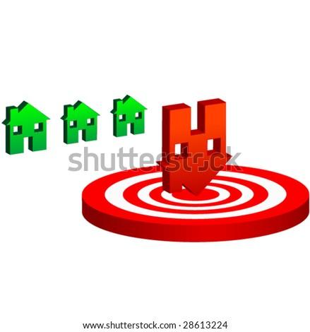 Falling home sales Vector - stock vector