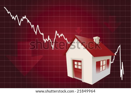 Falling house sales - stock vector