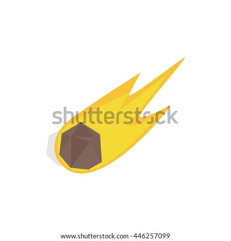 Falling meteor with long tail icon in isometric 3d style on a white background - stock vector