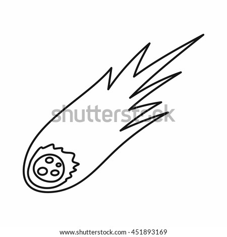 Falling meteor with long tail icon in outline style isolated vector illustration - stock vector