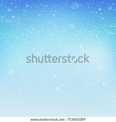 Falling shining snow or snowflakes on blue background for Merry Christmas and Happy New Year. Vector.