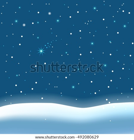 Falling snow and magic stars on night sky background, vector illustration.