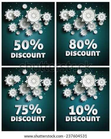 Falling snow background paper snowflakes over night dark sky with text discount set - stock vector