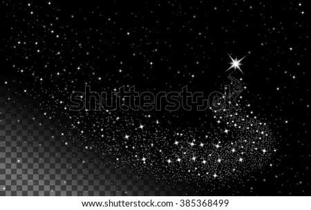 Falling star, shooting star with twinkling star trail on transparent background, vector - stock vector
