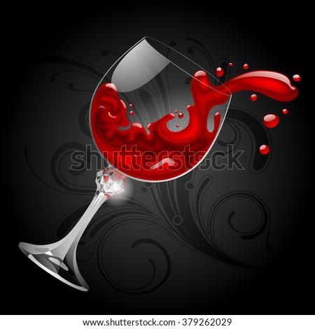 Falling transparent glass with red wine on black background. Splash of wine. Vector illustration