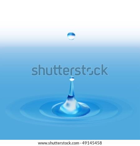 falling water drop - stock vector