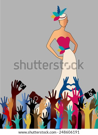 Fame Woman  reaching hands camers woman gown hat  - stock vector