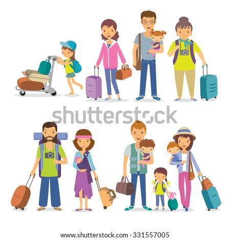Families with children and suitcases on vacation - stock vector