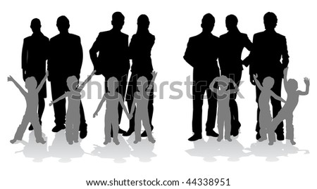families with their children - stock vector