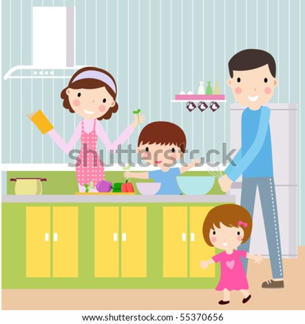 familly cook - stock vector