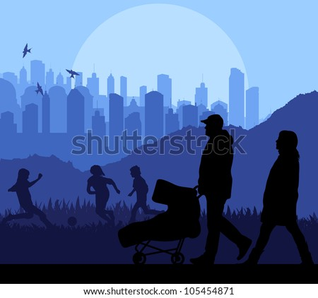 Family and baby stroller vector background in front of city - stock vector