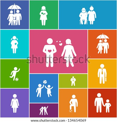 Family and friends icons - stock vector
