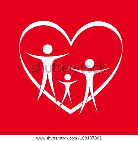 family and heart over red background. vector illustration
