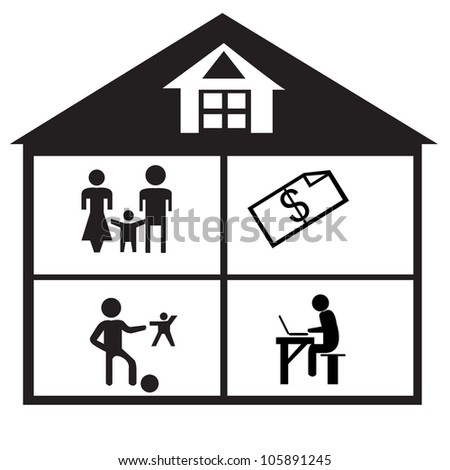 family and home silhouettes icons(vectors) - stock vector