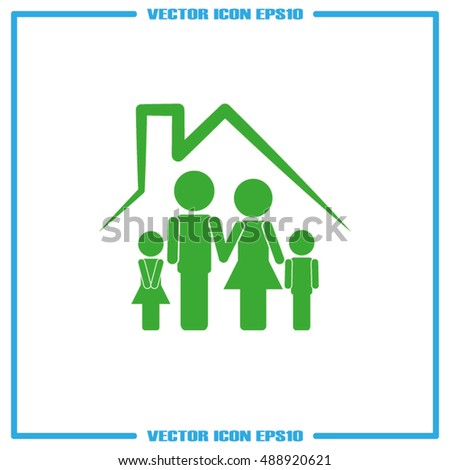 family and house icon vector