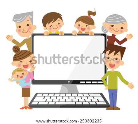 Family and personal computer - stock vector