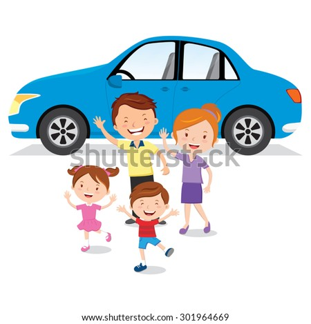 Family and their car. Vector illustration of cheerful family with their blue car. - stock vector
