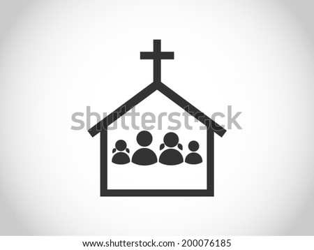 family at church - stock vector