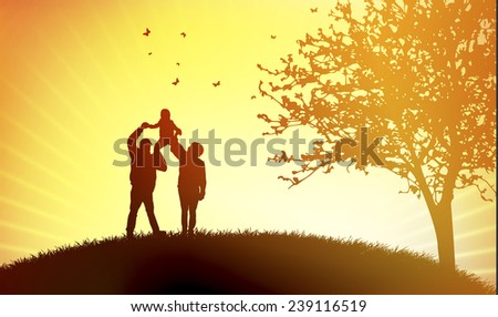 Family at sunset - stock vector