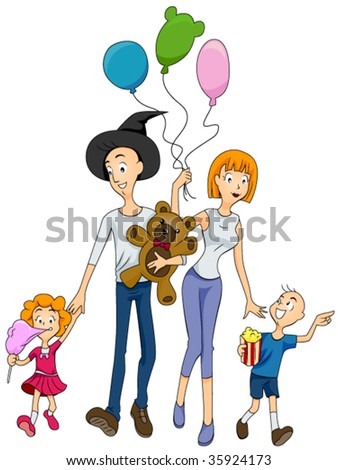 Family at the Amusement Park - Vector - stock vector