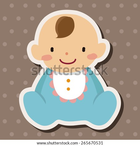 family baby character flat icon elements background,eps10 - stock vector