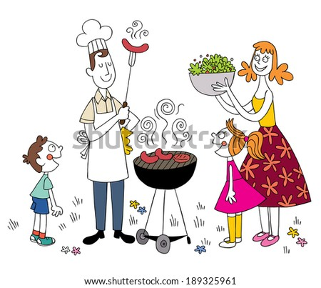 family barbecue - stock vector