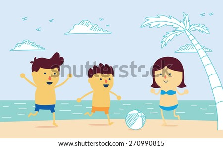 Family be have father, mother and son well being with play ball on the beach in cartoon version and mix a drawing style - stock vector