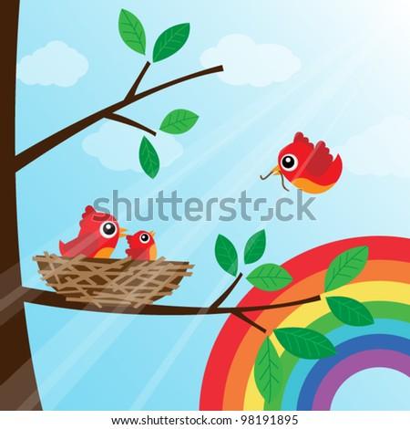 Family bird feeding with rainbow - stock vector