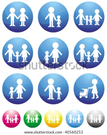 family blue button icons - stock vector