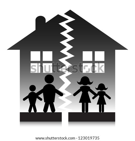 Family break up silhouette. - stock vector