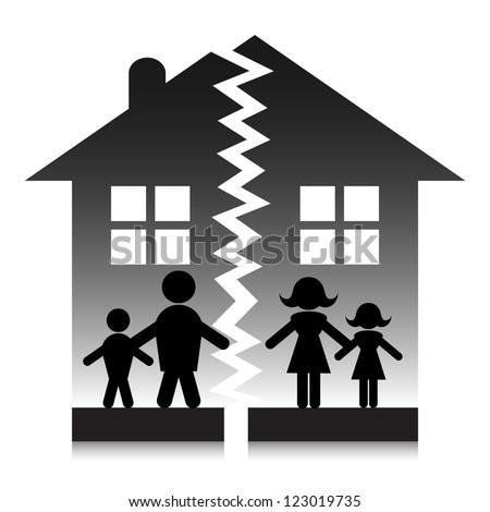 Family break up silhouette. - stock vector