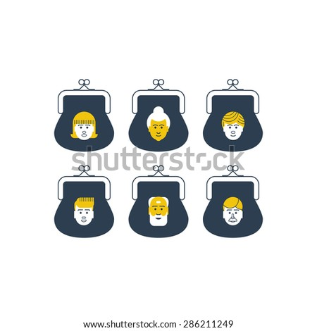 Family budget planning. Personal bank accounts. Safe deposit boxes. Pension savings. Different kinds of deposits. - stock vector