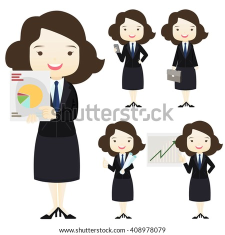 Family businessman businessgirl cartoon character do business concept presentation activities on White background.- vector illustration