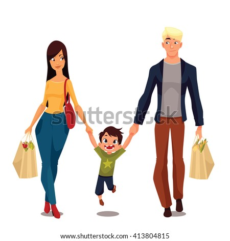 Family buying, cartoon vector illustration, isolated on a white background, a little boy and his parents went shopping, young and beautiful family packages of food, happy people after shop, shoping  - stock vector