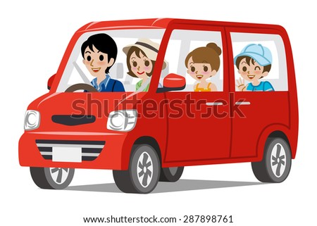 Family Car Driving -Side view - stock vector