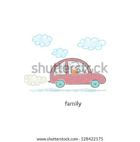 Family car. Illustration. - stock vector