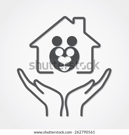 Family care medical health center symbol, icon, logo template  - stock vector