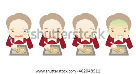 Family cartoon character playing tablet PC in different emotions faces on White background.- vector illustration