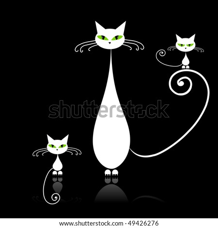 Family cats, mother with children, white cat with green eyes on black - stock vector
