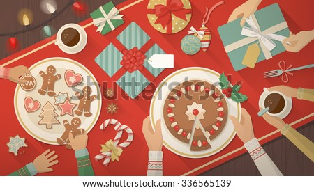 Family celebrating Christmas at home and eating together delicious sweets, cookies and desserts, top view - stock vector